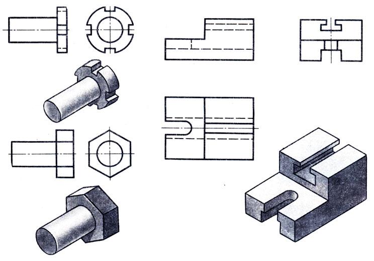 Рис. 162. Деталь, для выявления формы которой необходимо три вида (справа)