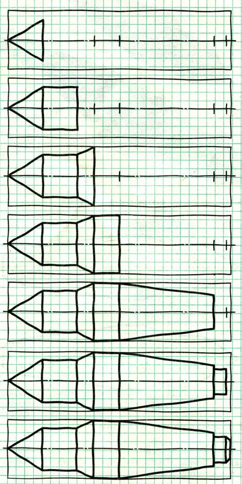 Рис. 167. Последовательность зарисовки эскиза центра токарного станка