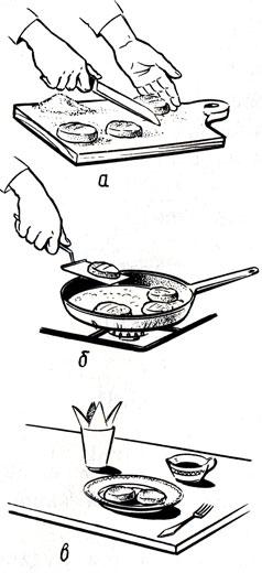 Рис. 14. Приготовление крупяных биточков: а- формование, б - жаренье, в - оформление готового блюда