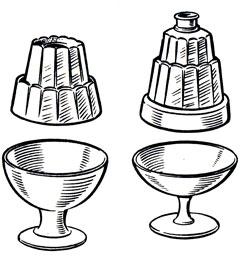 Рис. 20. Формы для приготовления желе и муссов и вазочки (креманки) для их подачи