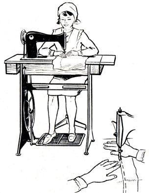 Рис. 30. Посадка при работе на швейной машине с ножным приводом
