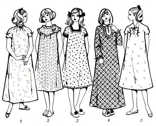 Рис. 46. Модели ночных сорочек