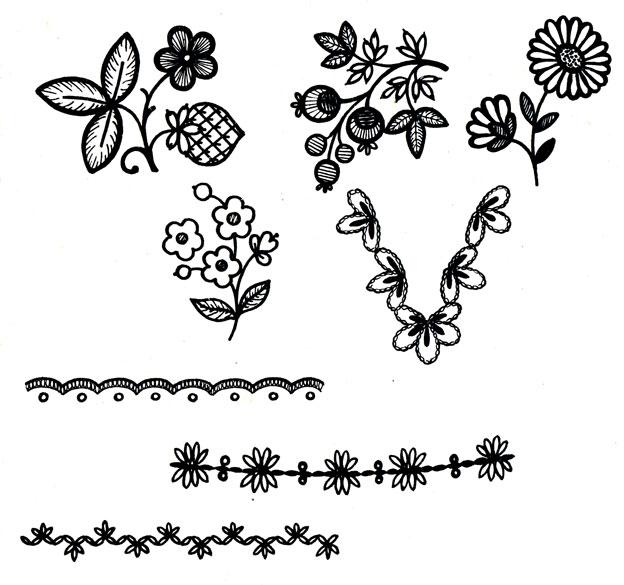 Рис. 50. Рисунки для отделки сорочек