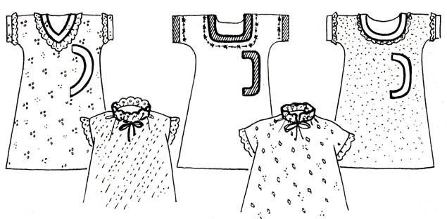 Рис. 51. Формы ворота и виды отделок ночных сорочек
