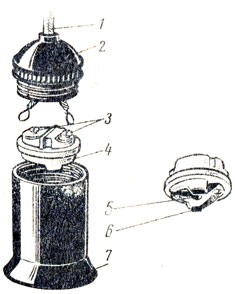Рис. 81. Устройство патрона: 1 - шнур, 2 - головка разъемного корпуса, 3 - винтовые зажимы, 4 - вкладыш, 5 - центральный контакт, 6 - листовой контакт, 7 - корпус