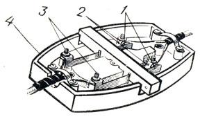 Рис. 84. Устройство проходного выключателя: 1 - подвижные контакты, 2 - неподвижные контакты, 3 - зажимные винты, 4 - корпус