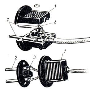 Рис. 88. Присоединение шнура к вилке: 1 - корпус, 2 - штифты, 3 - зажимные винты