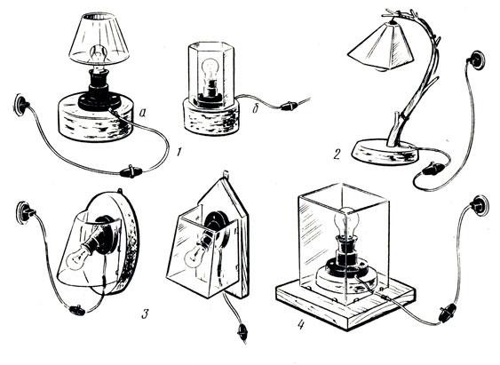 Рис. 104. Образцы светильников для самостоятельного изготовления