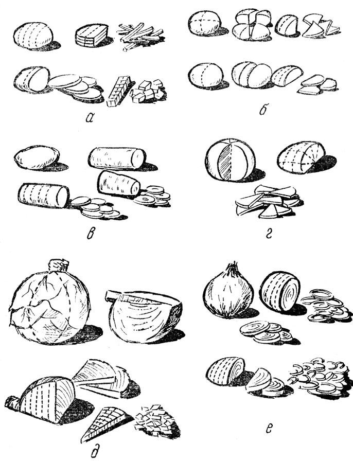 Формы нарезки овощей: а
